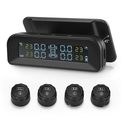 ZEEPIN C260 Tire Pressure Monitoring System Solar TPMS Universal Real-time Tester LCD Screen with 4 External Sensors